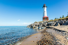 Lake Superior Beach And Crisp Point Light In The Upper Peninsula