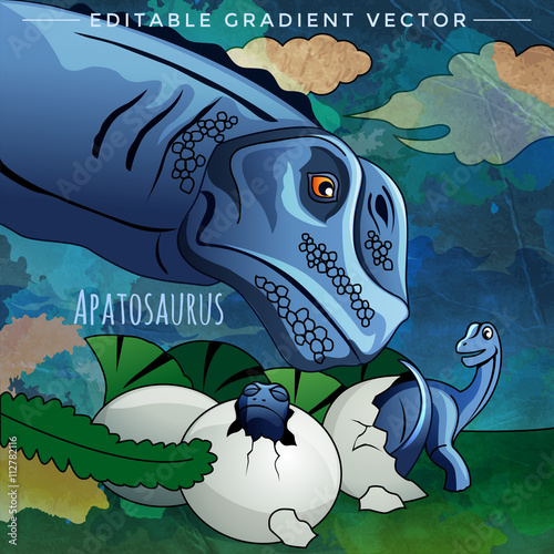 Photo  Dinosaur in the habitat. Vector Illustration Of Apatosaur