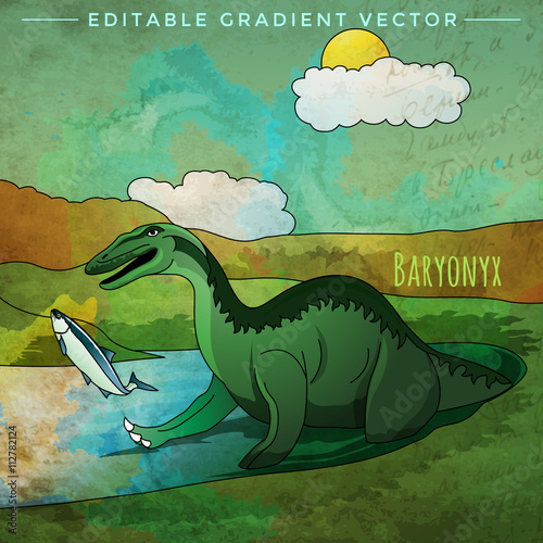 Dinosaur In The Habitat Vector Illustration Of Baryonyx Buy This
