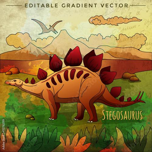 Canvas Prints Dinosaurs Dinosaur in the habitat. Vector Illustration Of Stegosaur