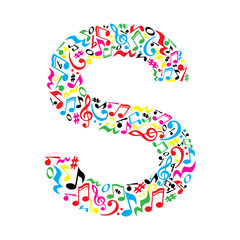 FototapetaS letter made of colorful musical notes on white background. Alphabet for art school. Trendy font. Graphic decoration.