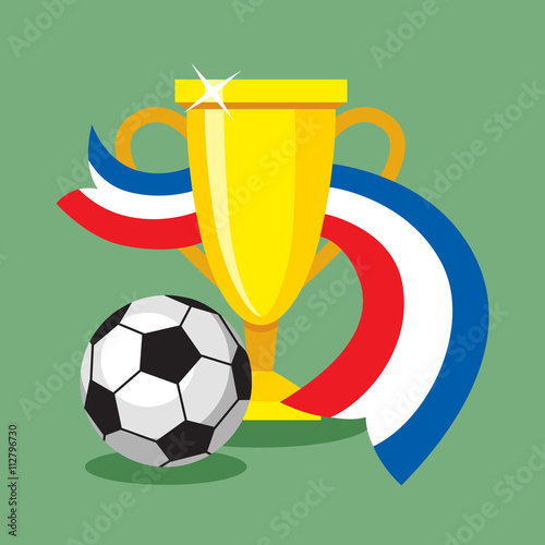 Poster  soccer football ball on French flag background