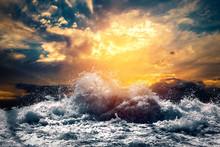 Rough Sea At Sunset
