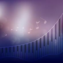Piano Keyboard And Musical Note Background