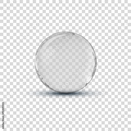 Fotobehang Bol Big white transparent glass sphere ball with glares and shadow