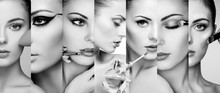 Beauty Collage. Faces Of Women. Fashion Photo. Makeup Artist Applies Lipstick And Eye Shadow. Woman Applying Perfume