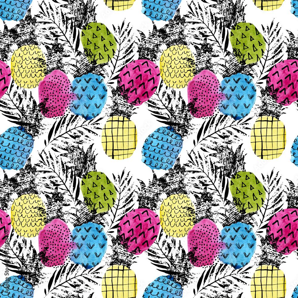 Kolorowy ananas z akwareli i grunge tekstur bezszwowym wzorem <span>plik: #112808176 | autor: Tanya Syrytsyna</span>