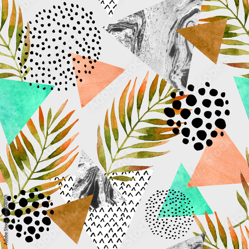 Photo sur Aluminium Empreintes Graphiques Abstract summer geometric seamless pattern