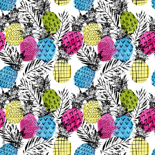 Colorful pineapple with watercolor and grunge textures seamless pattern