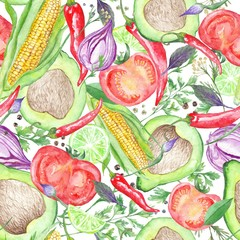 Fototapeta Warzywa Vegetarian Vegetable Pattern
