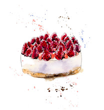 Strawberries Biscuit Cake. Watercolor Hand Drawn Illustration.