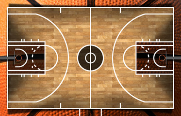 Fototapeta Koszykówka Realistic 3D illustration of a basketball court with wooden floor (parquet) and orange and black ball