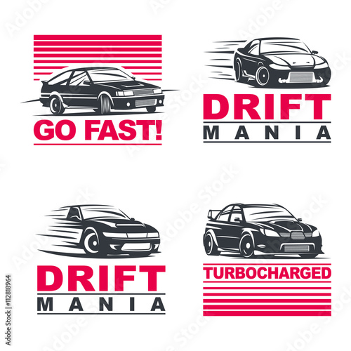 drift cars set Poster Mural XXL