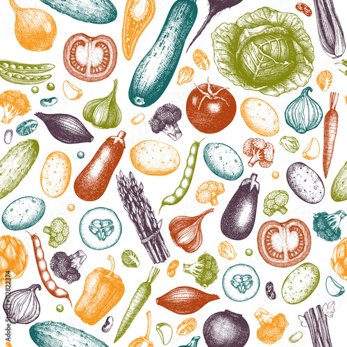 Seamless pattern with hand drawn vegetables illustration. Vintage background with healthy food sketch