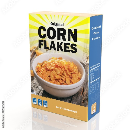 Photo 3D rendering of Corn Flakes paper packaging, isolated on white background
