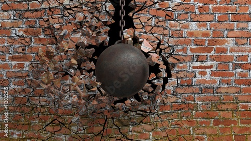 Fotobehang Bol Metallic rusty wrecking ball on chain shattering an old brick wall. 3D rendering
