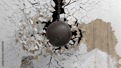 Fototapeta Metallic rusty wrecking ball on chain shattering  an old wall. 3D rendering obraz na płótnie