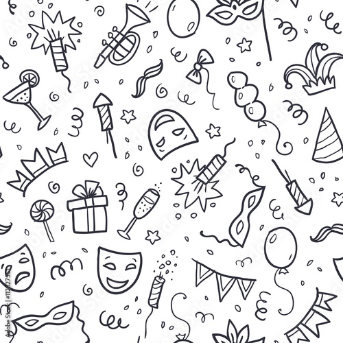 Fotografija  Black carnival symbols in doodle style on white background, seamless pattern