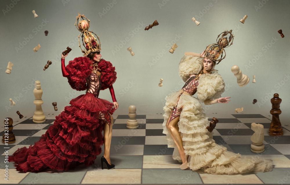Fototapeta Battle of chess queens