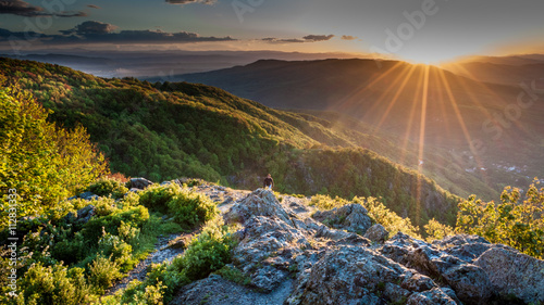 Canvas Prints Hill Sunset through stormy clouds over Vitosha mountain in Sofia, Bulgaria