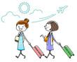 イラスト素材:女性 旅行