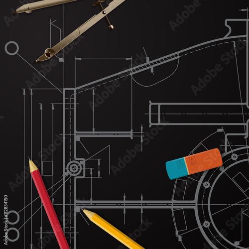 Poster de jardin Route Vector technical blueprint of mechanism