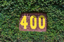 400 Feet Sign On The Outfield Wall Of Wrigley Field In Chicago, Illinois