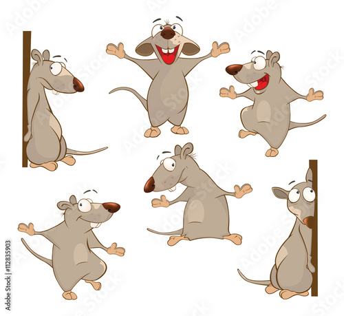 Recess Fitting Baby room Illustration of a Set of a Cute Cartoon Cute Rats