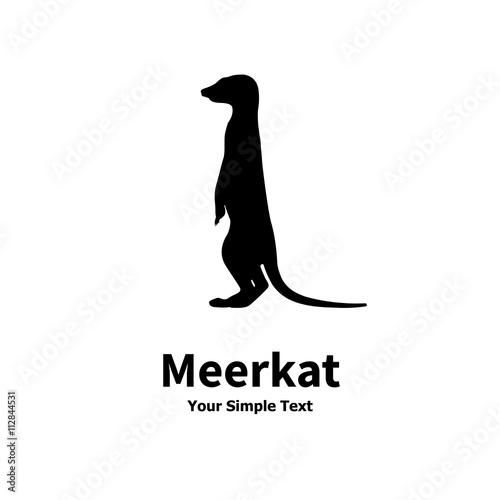 Cuadros en Lienzo Vector illustration of a silhouette standing meerkat