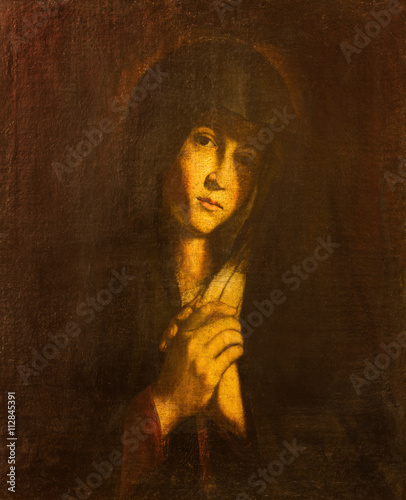 AVILA, SPAIN, APRIL - 18, 2016: The Lady of Sorrow painting Catedral de Cristo Salvador (Sala de la Pasion) by unknown artis of 17. cent. - 112845391