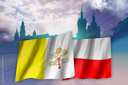 Flags of Poland and Vatican over Cracow landscape - 112845730