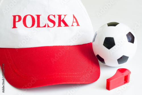 Photo  Euro 2016 with polish fan hat and football ball