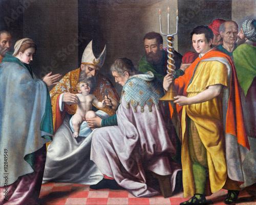 Zdjęcie XXL BRESCIA WŁOCHY, MAJ, - 21, 2016: Obrzezanie mała Jezus farba w kościelnym Chiesa Del Santissimo Corpo Di Cristo niewiadomymi artis 16 cent. zainspirowany Leonardo Bramantino.