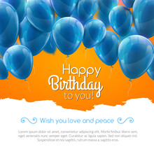 Vector Happy Birthday Card With Blue Balloons, Party Invitation.