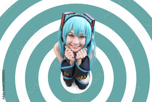 Plakat Japan anime cosplay. zestaw cosplay