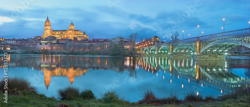 Salamanca - The Cathedral and bridge Puente Enrique Estevan Avda and the Rio Tormes river at dusk