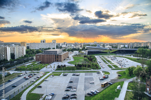 Obrazy na płótnie Canvas Amazing sunset over modern district of Katowice