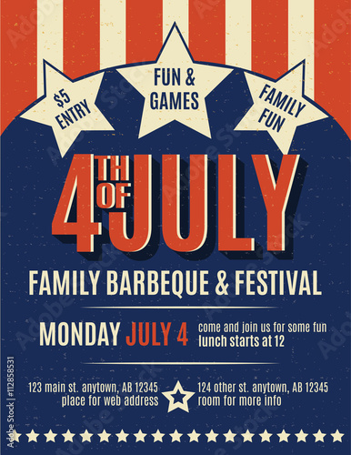 fbc4f12f994944 Retro 4th of July grunge flyer template - Buy this stock vector and ...