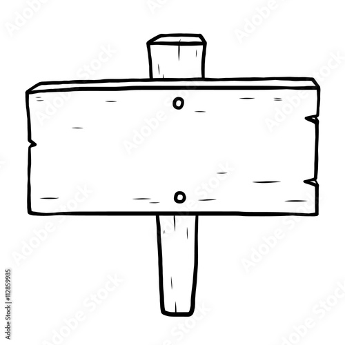 wooden placard / cartoon vector and illustration, black and white, hand drawn, sketch style, isolated on white background.