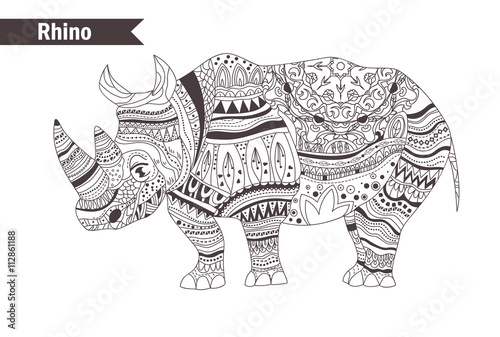 Naklejka premium Rhino. vector isolated illustration