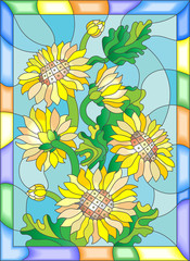 Fototapeta Słoneczniki Illustration in stained glass style with flowers, buds and leaves of sunflowers