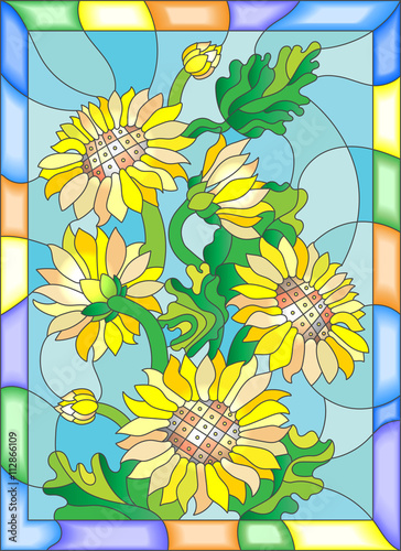 Illustration in stained glass style with flowers, buds and leaves of sunflowers - 112866109