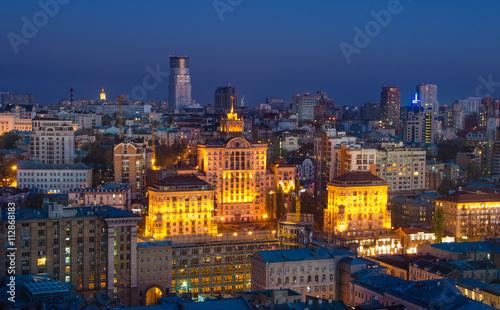 Foto op Plexiglas Bedehuis Night center of Kiev city, Ukraine