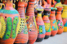 Colorful Handcrafted Pots In A...
