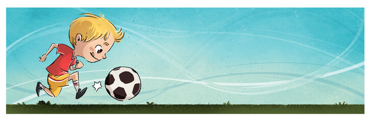 niño jugando a futbol con pelota