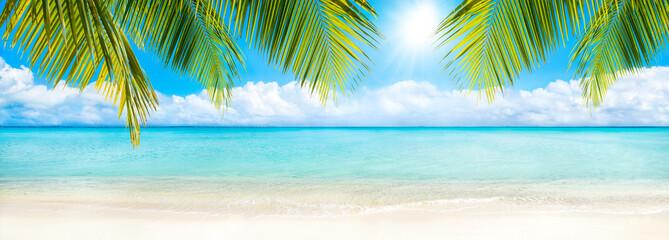 Panel Szklany Do kuchni Sommer, Sonne, Strand und Meer als Hintergrund
