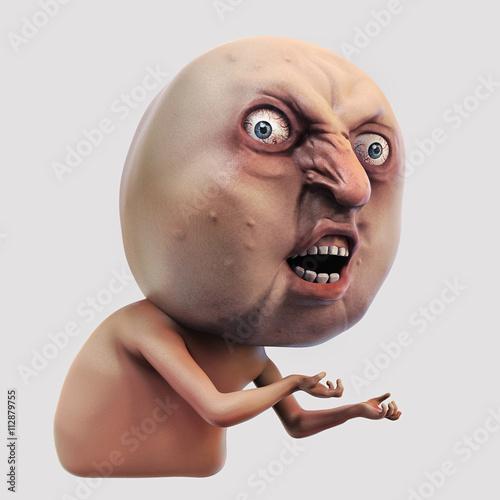 Cuadros en Lienzo Internet meme Why You No. Rage face 3d illustration