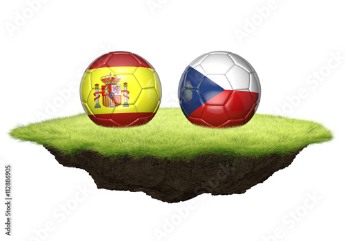 Photo  Spain and Czech Republic team balls for football championship tournament, 3D ren