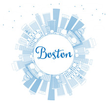 Outline Boston Skyline With Blue Buildings And Copy Space.