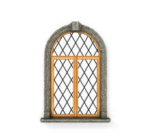 Ancient Wooden Window. Castle ...